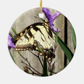Eastern Tiger Swallowtail in Mexican Petunias Ceramic Ornament