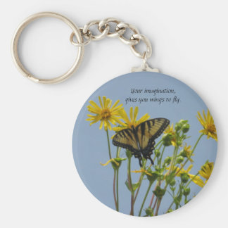 Eastern Tiger Swallowtail on Daisies-Wings to fly Keychain
