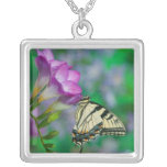 Eastern Tiger Swallowtail on Fresia - Sammamish Square Pendant Necklace