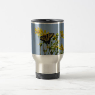 Eastern Tiger Swallowtail on Yellow Daisies 15 Oz Stainless Steel Travel Mug