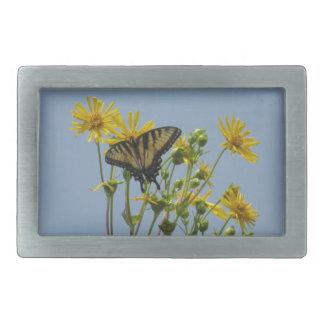 Eastern Tiger Swallowtail on Yellow Daisies Rectangular Belt Buckles