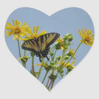 Eastern Tiger Swallowtail on Yellow Daisies Heart Sticker