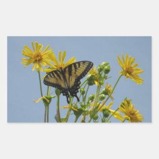 Eastern Tiger Swallowtail on Yellow Daisies Rectangular Sticker