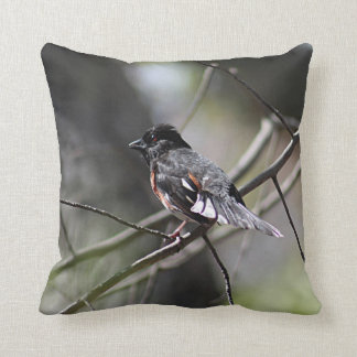 Eastern Towhee Throw Pillow