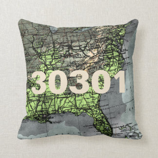 Eastern US Map Zip Code Pillow Greens and Greys