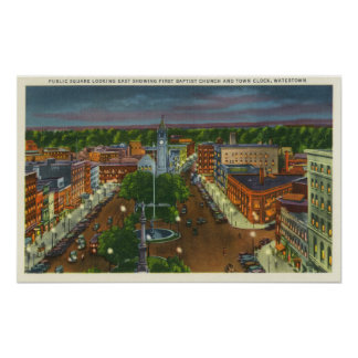 Eastern View of Public Square, Town Clock Poster