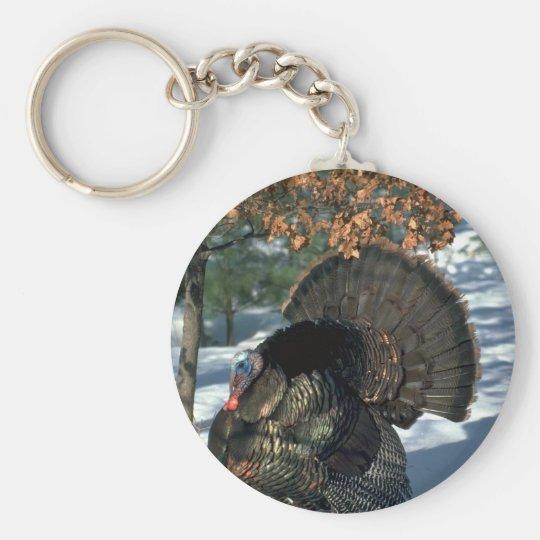 Eastern wild turkey, huge gobbler in full strut keychain