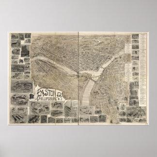 Easton Pennsylvania 1900 Antique Panoramic Map Poster