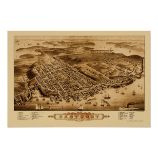 Eastport, YO mapa panorámico - 1879 Póster