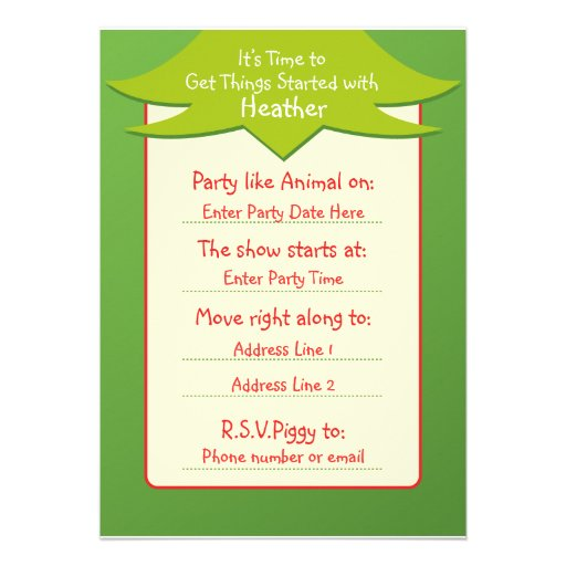 Easy Being Green Birthday Invitations