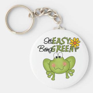 Easy Being Green Frog Basic Round Button Keychain