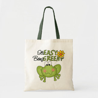 Easy Being Green Frog Canvas Bag