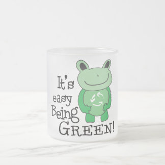 Easy Being Green Frosted Glass Coffee Mug