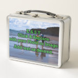 """Easy Click and Replace Photos to Make Your Own Metal Lunch Box<br><div class=""""desc"""">Simple DIY photo design featuring easy upload of your photo, image or artwork—just click on the image box on this page and upload yours and it will automatically fill the space shown. PHOTO TIP: For fastest/best results, choose a photo with the subject in the middle and/or pre-crop it to the...</div>"""
