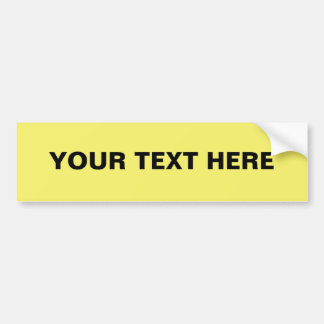 Easy Custom Bumper Sticker Template, Yellow FFFF66 Car Bumper Sticker