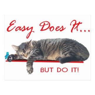 easy does it aa slogan postcard