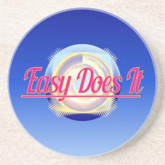 EASY DOES IT logo style Coaster