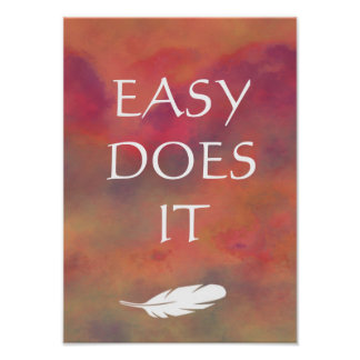 Easy Does It Orange Clouds White Feathe Print