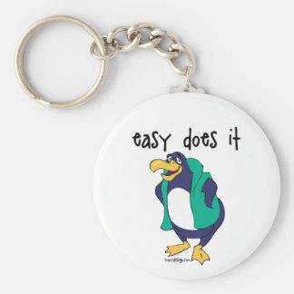 Easy Does It Penguin Slogan Basic Round Button Keychain