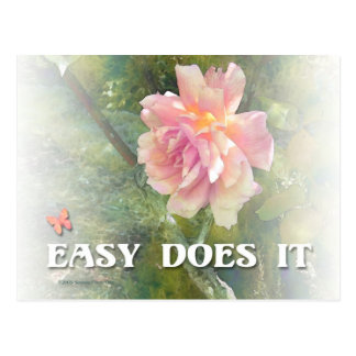 Easy Does It Pink Rose Postcard