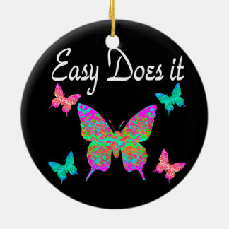 EASY DOES IT PRETTY BUTTERFLY DESIGN CERAMIC ORNAMENT