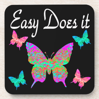 EASY DOES IT PRETTY BUTTERFLY DESIGN COASTER