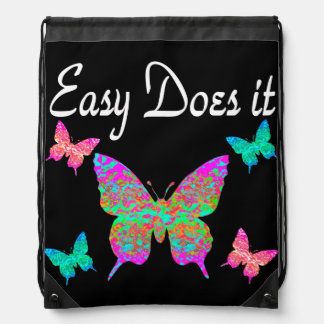 EASY DOES IT PRETTY BUTTERFLY DESIGN DRAWSTRING BAG
