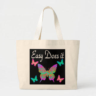 EASY DOES IT PRETTY BUTTERFLY DESIGN LARGE TOTE BAG