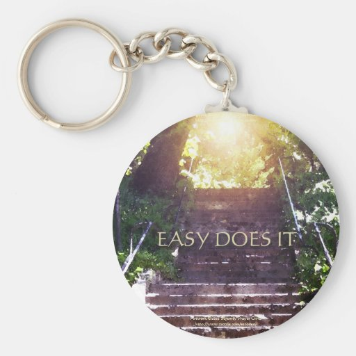 Easy Does It Steps Basic Round Button Keychain