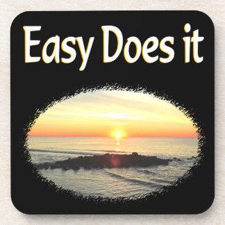 EASY DOES IT SUNRISE DESIGN BEVERAGE COASTER