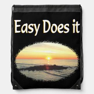EASY DOES IT SUNRISE DESIGN DRAWSTRING BACKPACK