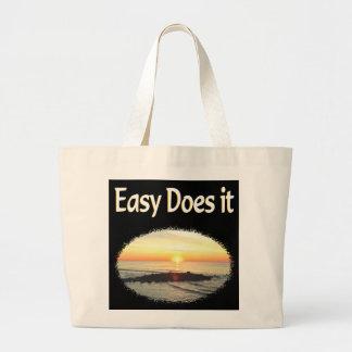EASY DOES IT SUNRISE DESIGN LARGE TOTE BAG