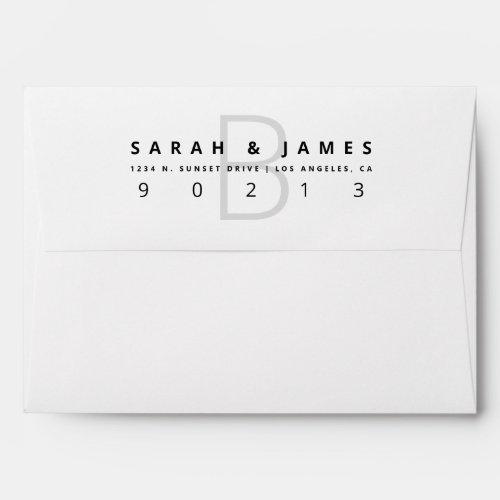Easy Modern Wedding Return Address Template Envelope