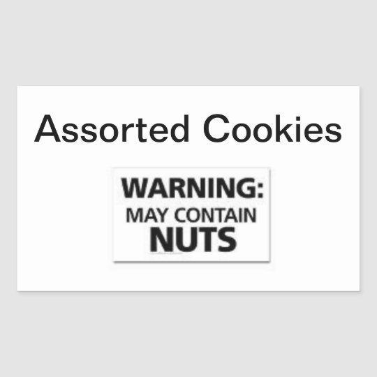 Easy Stick Warning Signs Cookies May Contain Nuts Rectangular Sticker