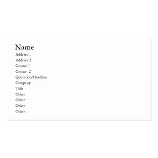 Easy template, plain white business cards