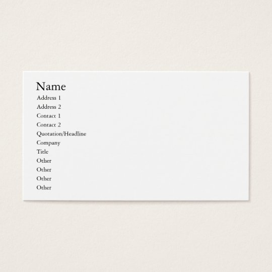 Easy template, plain white business card