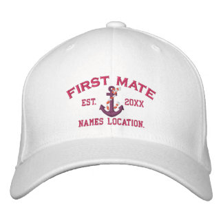 Easy to Personalize YEAR Names First Mate Anchor Embroidered Baseball Cap