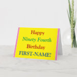 [ Thumbnail: Easy to Read, Bold 94th Birthday Greeting Card ]