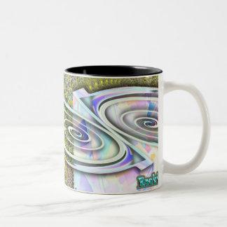 Easy-Zeke OP ART coffee cup! Two-Tone Coffee Mug