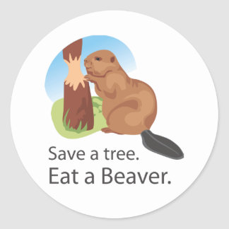 Eat A Beaver Classic Round Sticker