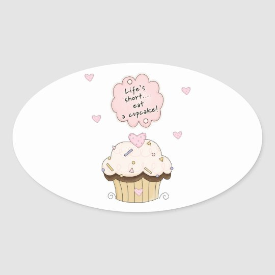 Eat A Cupcake Oval Sticker