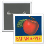 Eat an Apple with vintage illustration Pins