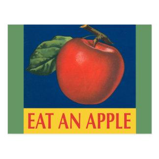 Eat an Apple with vintage illustration Postcard