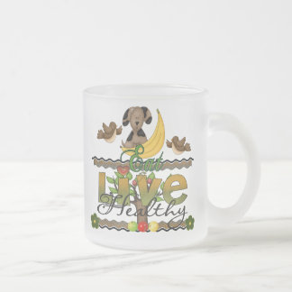 Eat and Live Healthy Frosted Glass Coffee Mug