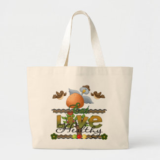 Eat and Live Healthy Large Tote Bag