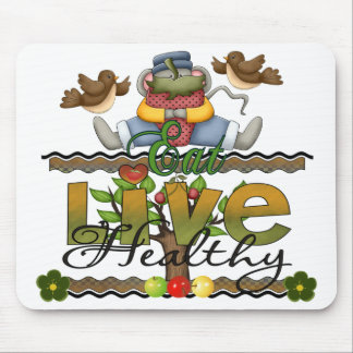 Eat and Live Healthy Mouse Pad