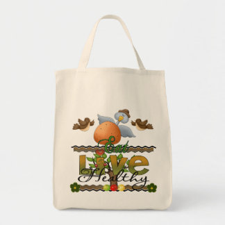 Eat and Live Healthy Tote Bag