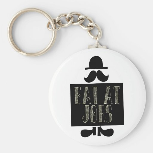 Eat at Joes Basic Round Button Keychain