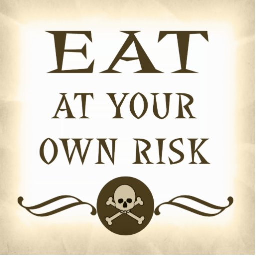 Eat At Your Own Risk Halloween Buffet Sign Photo Cutouts