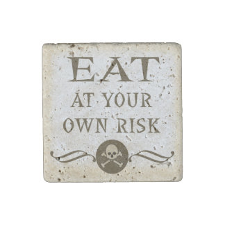 Eat At Your Own Risk Halloween Haunted House Stone Magnet